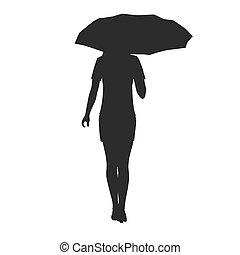guarda-chuva, mulher, silueta