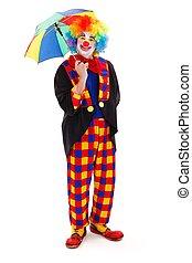guarda-chuva, palhaço, feliz