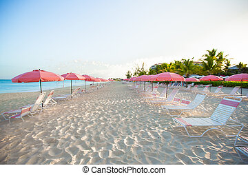 guarda-chuva, plage, tropicais, arenoso, paraisos , cadeira, praia, vazio, vista