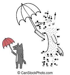 guarda-chuva, pontos, ponto, kids., jogo, lobo, desenhar, ligar, engraçado, atividade