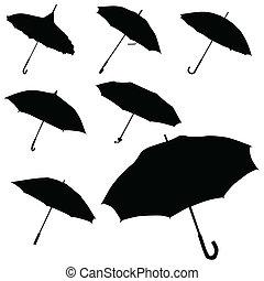guarda-chuva, pretas, silueta, vetorial