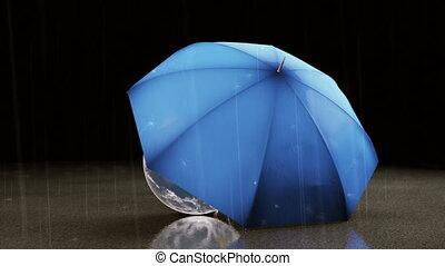 guarda-chuva, protegendo, a, planeta, eart