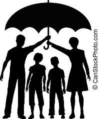 guarda-chuva, risco, família, pais, segurando, segurança, seguro