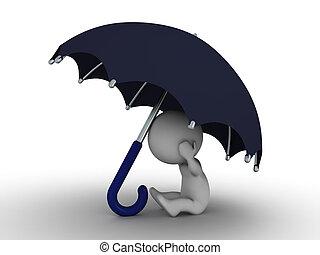 guarda-chuva, -, secu, homem, sob, 3d, escondendo
