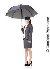 guarda-chuva, segurando