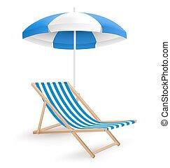 guarda-chuva, sol, isolado, cadeira, praia, branca