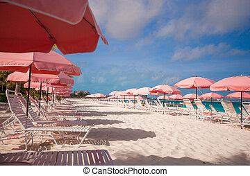 guarda-chuva, tropicais, arenoso, paraisos , cadeira, praia, vazio, vista