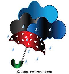 guarda-chuva, vermelho, chuva