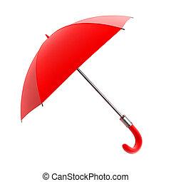 guarda-chuva vermelho, para, chuva, tempo