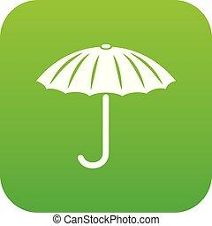 guarda-chuva, vetorial, verde, proteção, ícone
