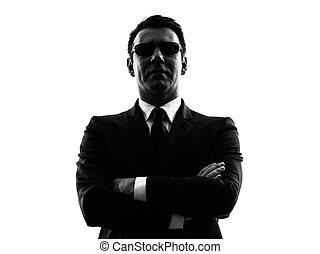 guarda-costas, silueta, serviço, agente, segredo, homem...