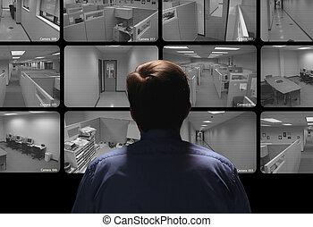 guarda de segurança, conduzir, vigilância, por, observar,...