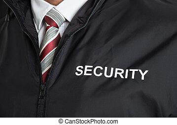 guarda de segurança, desgastar, uniforme, com, a, texto,...