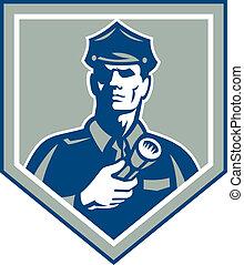 guarda de segurança, lanterna, escudo, retro