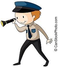 guarda de segurança, segurando, lanterna