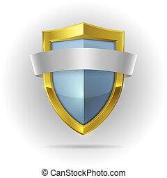 guarda, escudo, com, em branco, fita, emblema
