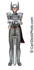 guarda, femininas, segurando, espada