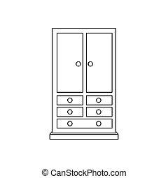 guarda-roupa, armoire, ilustração