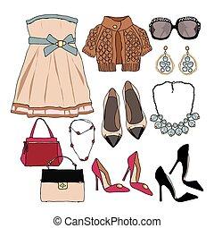 guarda-roupa, mulher, jogo, acessórios, roupas