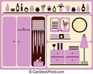 guarda-roupa, sala, interior.