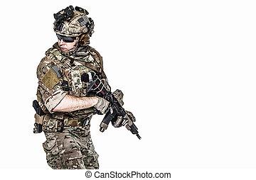guardabosques, arma, nosotros ejército