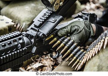 guardabosques, máquina, artillero, ejército