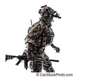 guardabosques, uniformes, ejército, campo