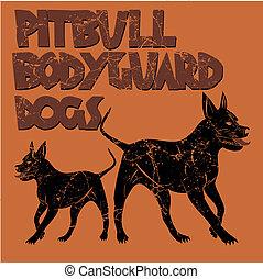 guardaespaldas, arte, perro, vector, toro, hoyo