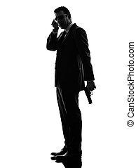 guardaespaldas, silueta, servicio, agente, secreto, hombre...