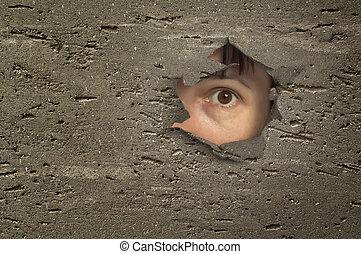 guardando attraverso, buco, occhio, wall.