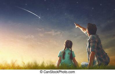 guardando, stella cadente