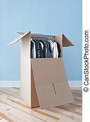 guardaroba, scatola, con, abbigliamento, pronto, per, spostamento