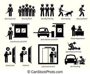 guardas, segurança, icons.