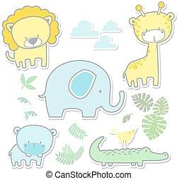 guardería infantil, arte, lindo, animales bebé