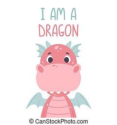 guardería infantil, impresión, vector, mano, lindo, posters., blanco, dragon., cita, rosa, ilustración, -, fondo., niño, dragón, letras, dibujado, cartel