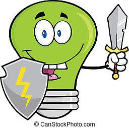 guarder, ampoule, feu vert