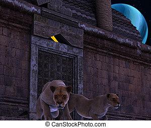 guardián, antiguo, leones, templo, fantasía