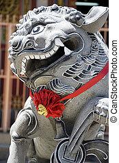 guardián, león, templo, chino