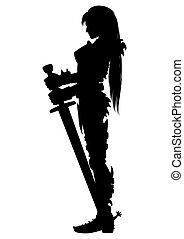 guardián, mujer, silueta, caballero