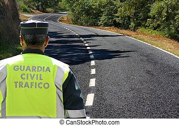 guardia civil, tráfico, español
