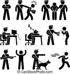 guardia de seguridad, oficial de policía, ladrón