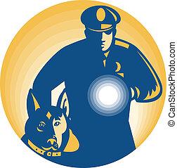guardia de seguridad, policía, perro policía