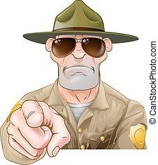 guardia forestale, parco, cartone animato, indicare