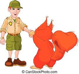 guardia forestale, scoiattolo