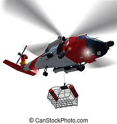 guardia, helicóptero, bajar, un, rescate, cesta, isolated.