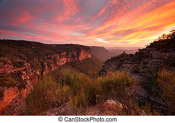 guardia, katoomba, tramonto, norths, viste