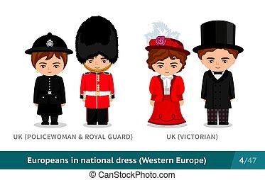 guardia, kingdom., real, unido, nacional, inglés, dress., ...
