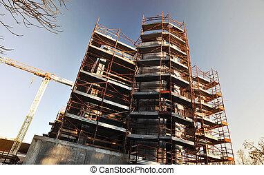 guardia, seguridad, construction., barandas, edificio, torre, debajo, grúa