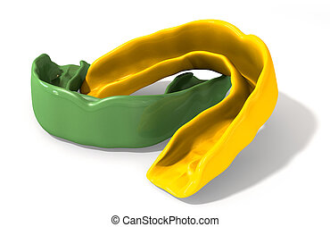 guardia, verde, goma, oro, perspectiva