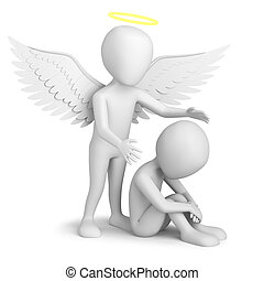 Guardian Angel! - 3d small person sitting and Guardian...